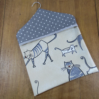 Cat & Mouse Print Coordinated with Grey Spotty Print PVC Oilcloth Peg Bag