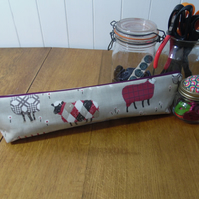 Sheep in tweeds knitting needle bag pouch matt finish oilcloth fabric red