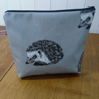 Hedgehog Print Matt Finish Oilcloth Large Cosmetic Bag Project Bag