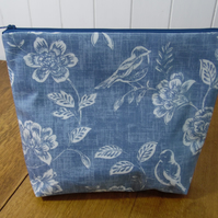 Blue Floral Print Oilcloth Ex-Large Toiletry Bag Project Bag