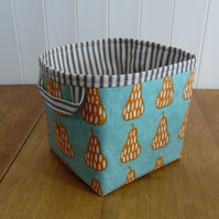 Reduced Pear Print Duck Egg Oilcloth Storage Basket Box- striped ticking