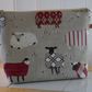 Baa Baa Sheep Print Matt Finish Oilcloth Large Cosmetic Bag Project Bag
