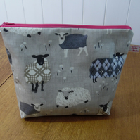 Baa Baa Sheep Print Matt Finish Oilcloth Large Cosmetic Bag Project Bag Pink
