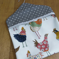 Harriet Hen Chicken print with grey spotty print  PVC oilcloth peg bag