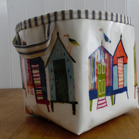 Beach Huts (& cheeky seagulls) Print Large Storage Basket -Bathroom