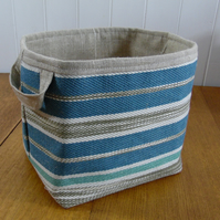 Striped Large Storage Basket- Turquoise Taupe
