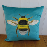 Bee Cushion Kingfisher Blue includes cushion pad