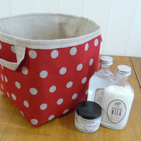 Reduced Red Linen Fabric Storage Basket