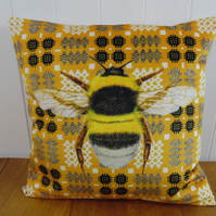 Welsh Blanket Print and Bumble Bee Cushion