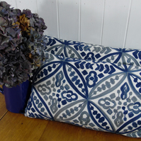 Embroidered Long Cushion- Linen Blue and Grey 30cm x 60cm