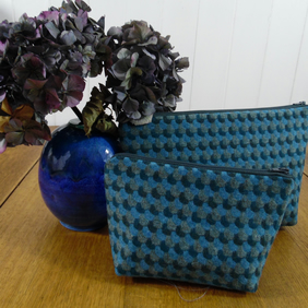 Little Wool Make Up Bag- Blue Wool and Acrylic Oilcloth Lining