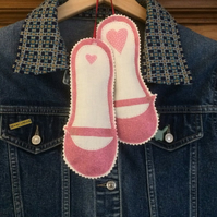 Lavender Bags Pair of Mary Jane Shoes Heart
