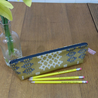 Welsh Blanket Weave Print Oilcloth Pencil Case Mustard