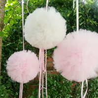 Hanging pom poms, large tulle pom poms, nursery pompoms, hanging decorations