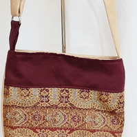 Camel and plum tapestry bag