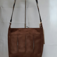 Brown and braid box pleat bag