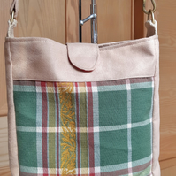 Green tartan cross body bag