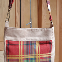 Red tartan cross body bag