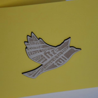 'Laser Tweet' card (yellow, with etched wooden bird)