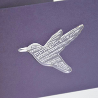 'Laser Tweet' card (amethyst, with etched acrylic bird)