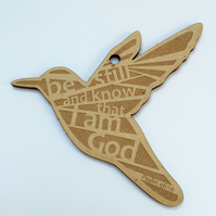 'Laser Tweet' - Psalm 46 (wood, 10cm)