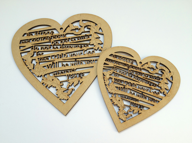 Medium wooden heart - Be strong and courageous (Joshua 1:9)