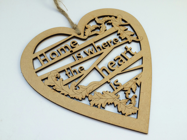Medium wooden heart - Home is where the heart is