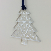 Silver mirrored tree - knot design