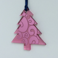Pink mirrored tree - swirl design