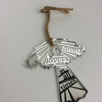 Etched silver acrylic angel - a friend loves at all times