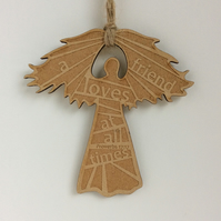 Etched wooden angel - a friend loves at all times