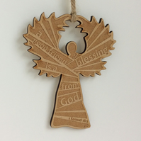 Etched wooden angel - a good friend is a blessing from God