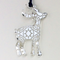 Silver mirrored reindeer - star design