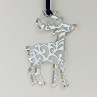 Silver mirrored reindeer - curls