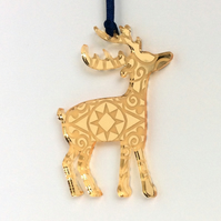 Gold mirrored reindeer - star design