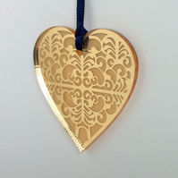 Gold mirrored heart