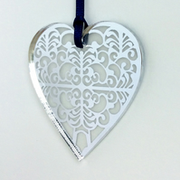 Silver mirrored heart