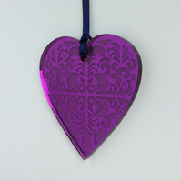 Purple mirrored heart
