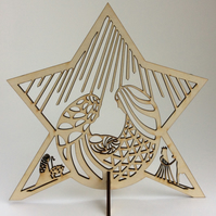 Freestanding wooden nativity cut-out