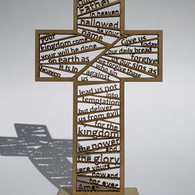 Intricate laser cut Lord's Prayer freestanding cross decoration