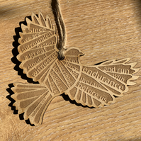 'Laser Tweet' - Hebrews 12:1 (wood, 10cm)