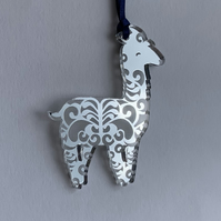 Silver mirrored acrylic llama decoration