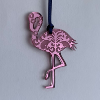 Pink mirrored acrylic flamingo decoration