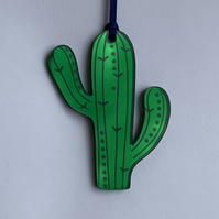 Green mirrored acrylic cactus decoration