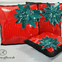Perfect gift, Glossy leather designer LARGE cushions, best interior decor