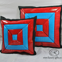 Medium 3D glossy leather cushions, designer touch to any interior, perfect gift