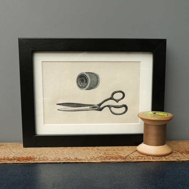 Vintage sewing, scissors, cotton reel, original framed canvas print