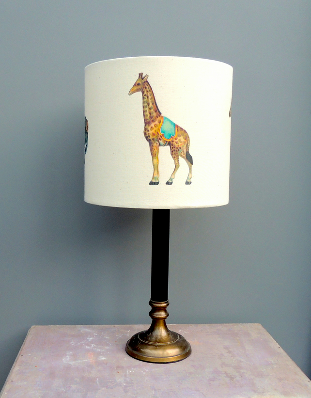 Victorian circus animals 20cm drum lampshade