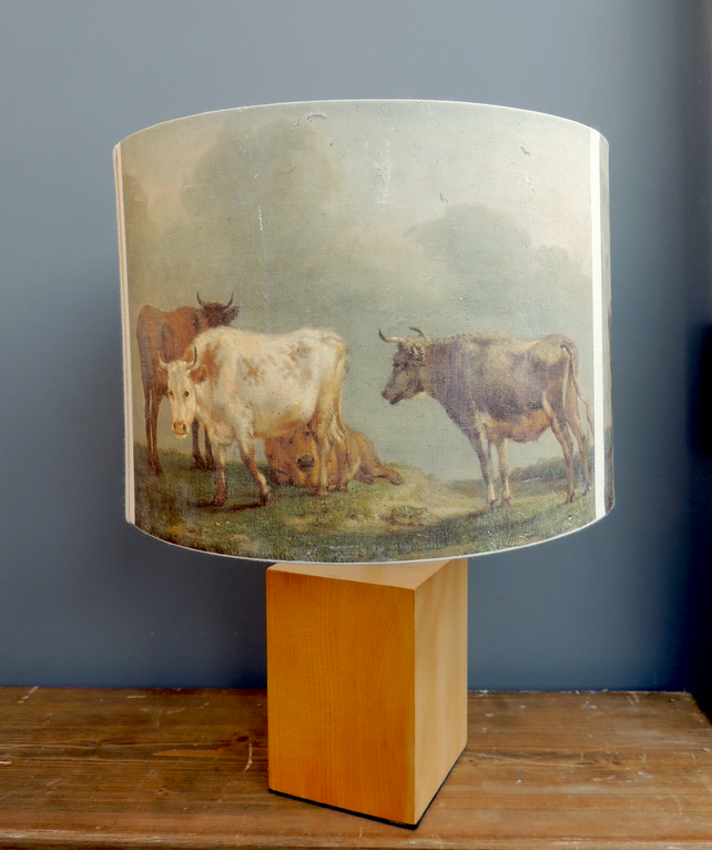 30cm drum lamp shade with Old Master cows