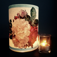 Vintage roses candle shade - tea light lantern - floral candle holder